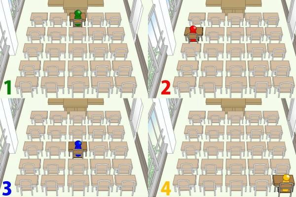 【画像性格占い】イラストでサクッと、あなたの心理がわかるテスト☆「学校の席替え、どんな席が好み?」