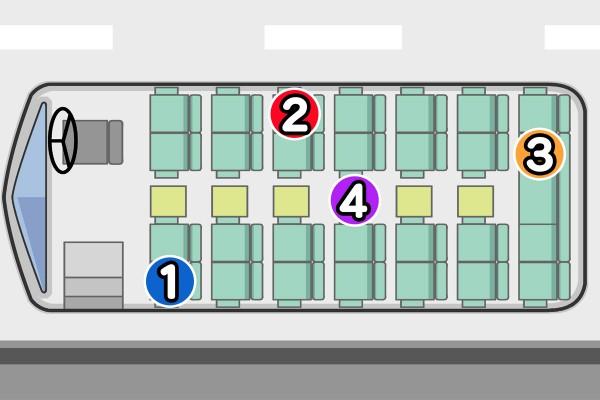 【イラスト性格占い】好みの席で、クラスでの役割や人間関係を診断☆「遠足のバスの座席、どこを選ぶ?」